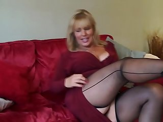 Hot stockings mature milf mother solo webcam masturbation